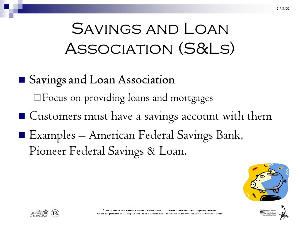 Savings and Loan Association (S&Ls)