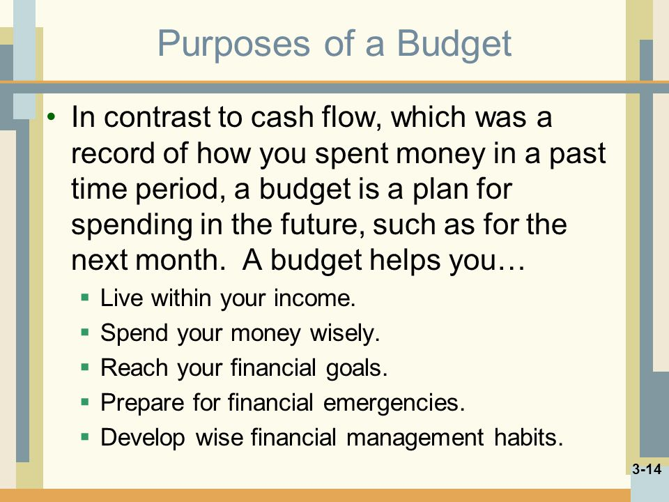 Purposes of a Budget