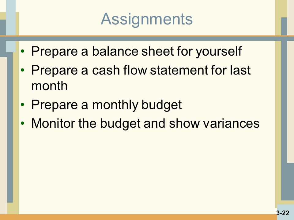 Assignments Prepare a balance sheet for yourself