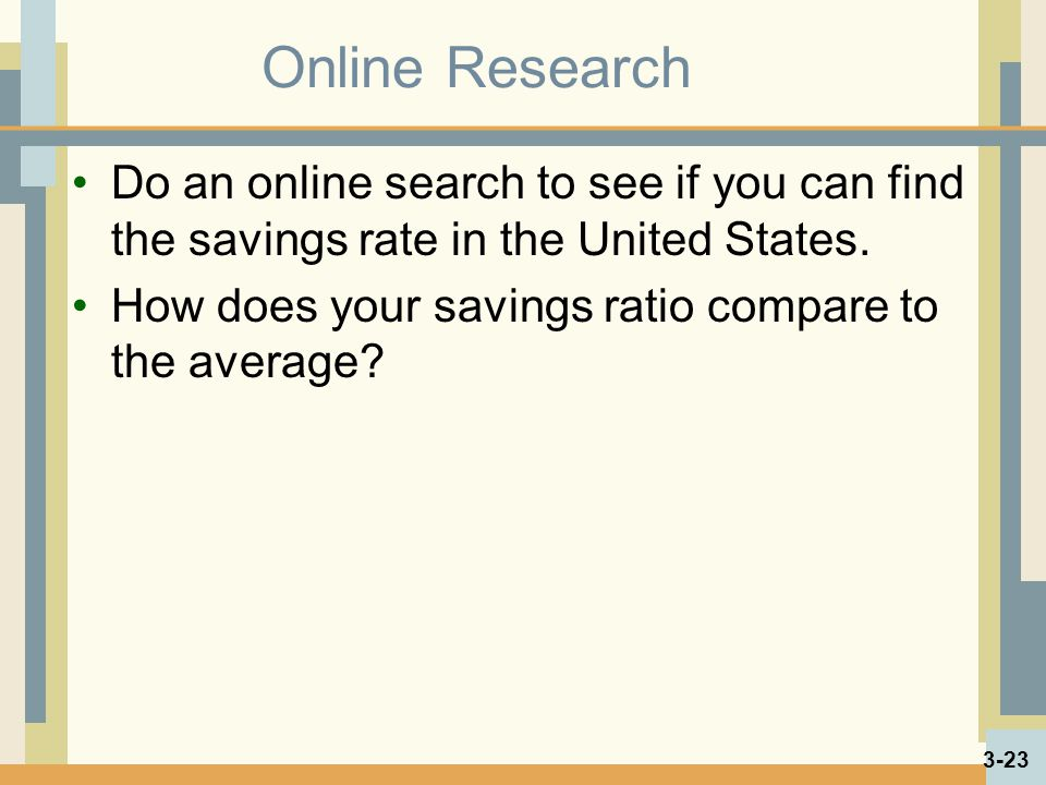 Online Research Do an online search to see if you can find the savings rate in the United States.