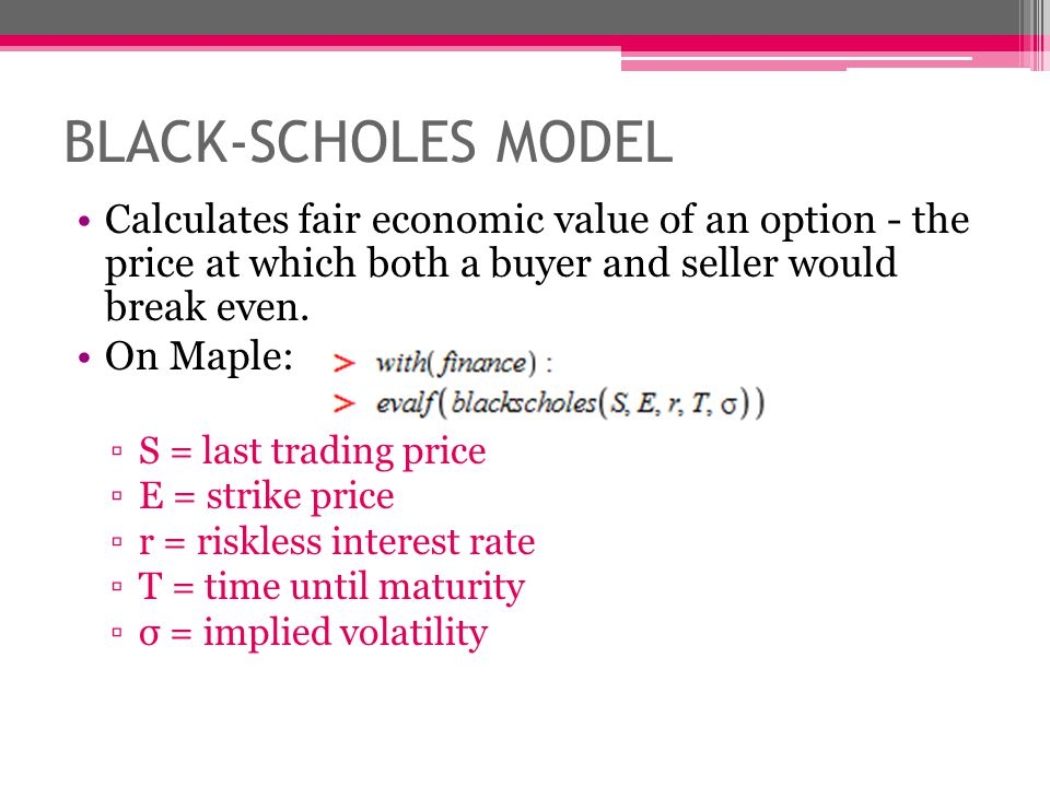 Black-scholes theory of options trading