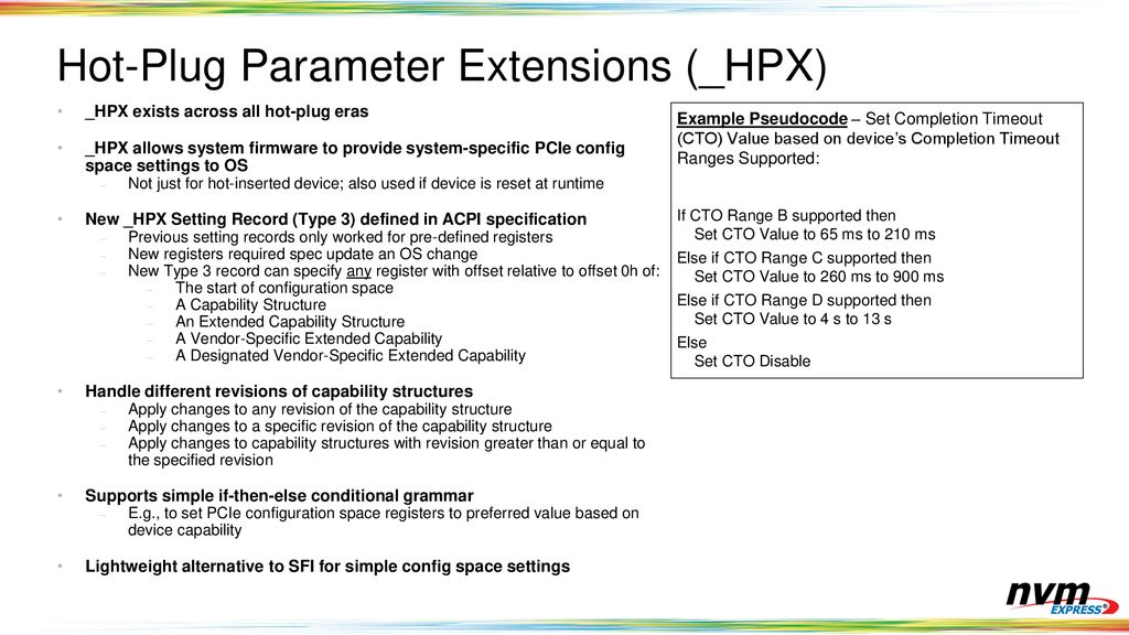 PCIe Hot-Plug and Error Handling for NVMe 2019 NVMe™ Annual