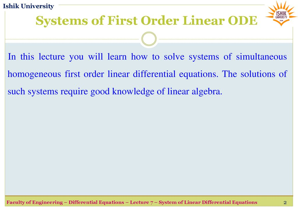 Lecture 7 System of Linear Differential Equations fall semester