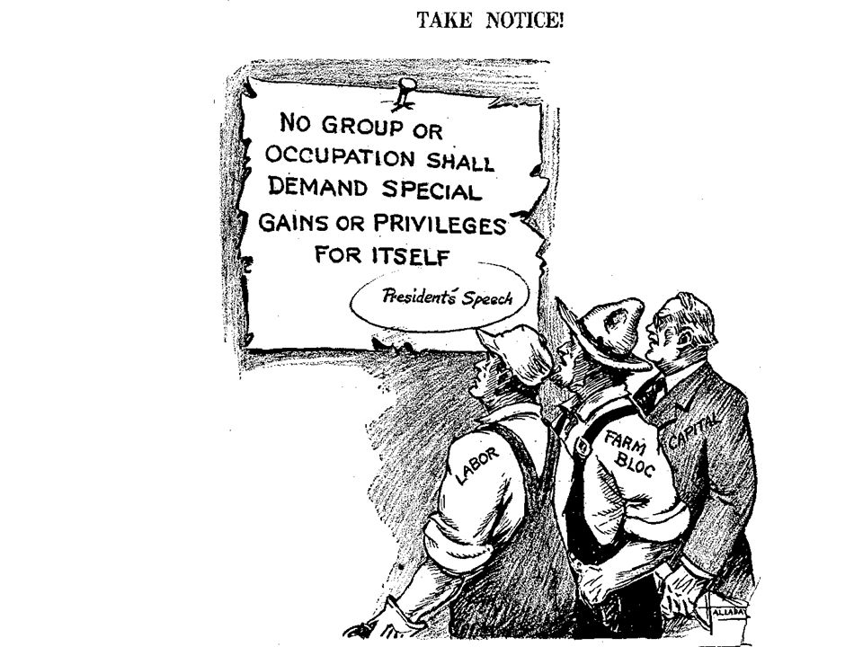 This is actually a political cartoon from the early 1940's and represents President Franklin Delano Roosevelt's insistence that no group in society attempt to take advantage of the war-time efforts to make gains for itself.