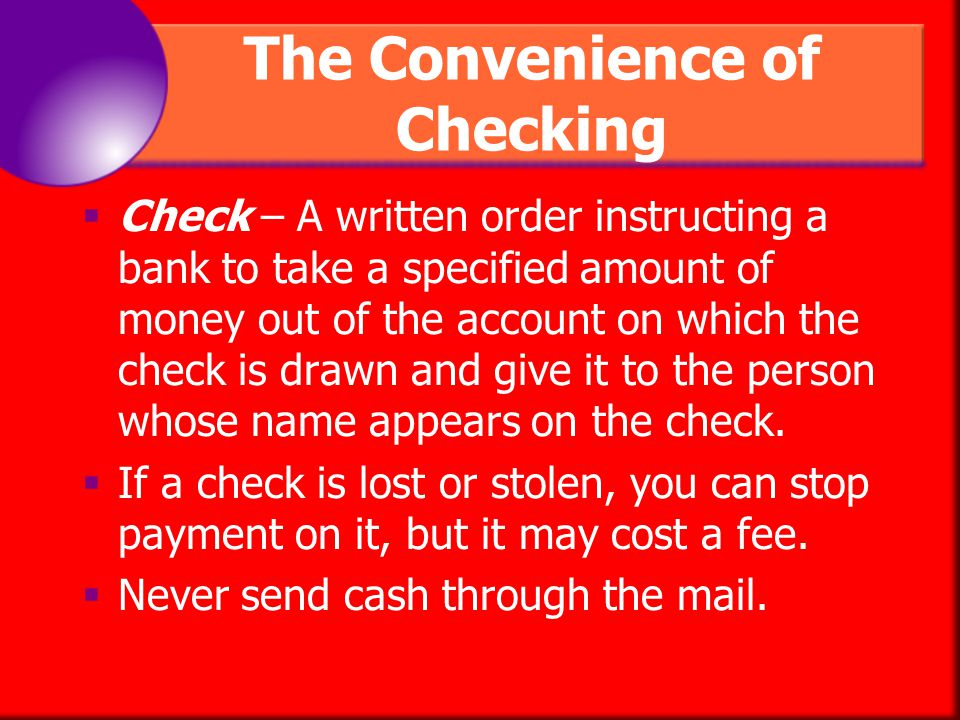 The Convenience of Checking