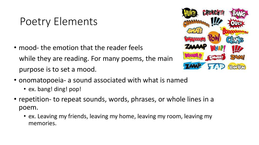 Poetry Elements alliteration- the repetition of the beginning - ppt