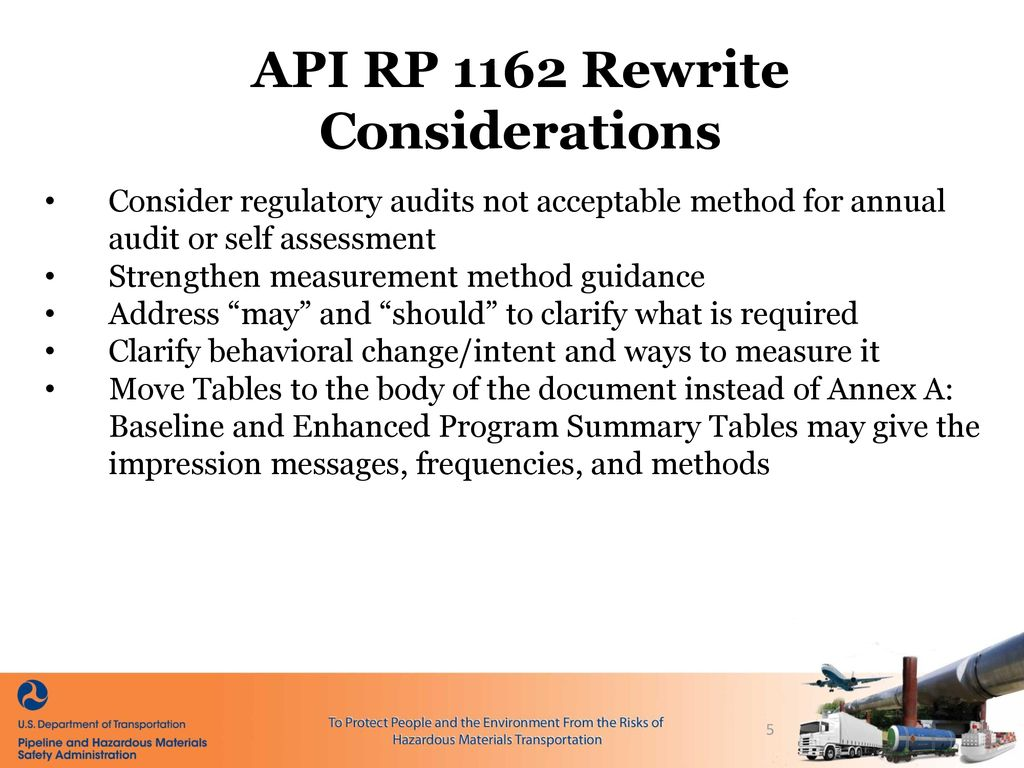 PHMSA Update for the API RP1162 Rewrite Team - ppt download