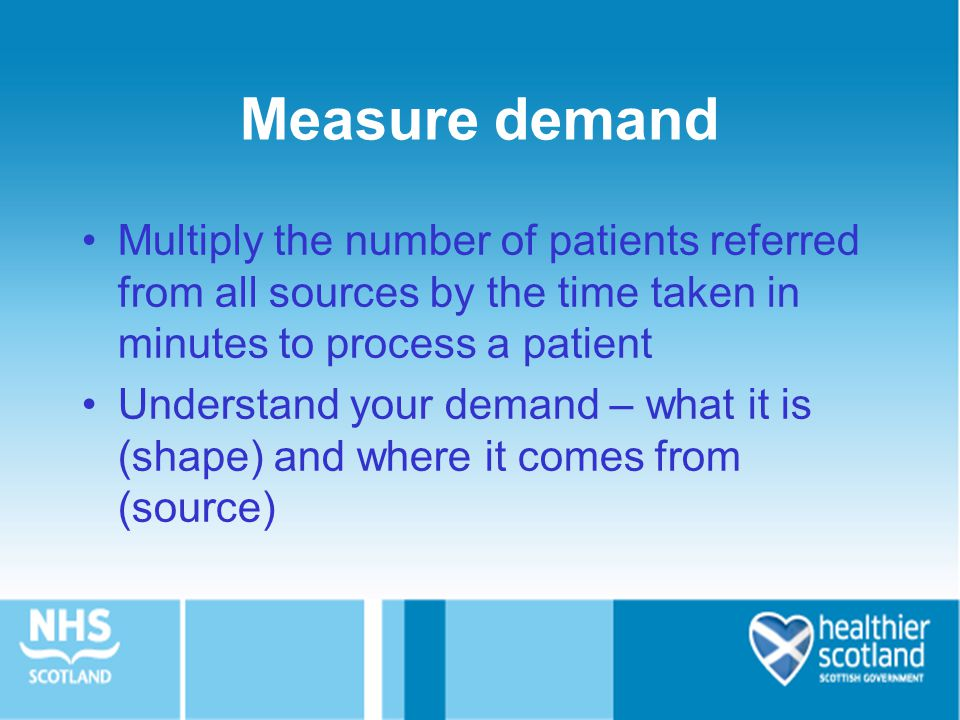Measure demand Multiply the number of patients referred from all sources by the time taken in minutes to process a patient.