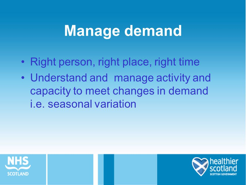 Manage demand Right person, right place, right time