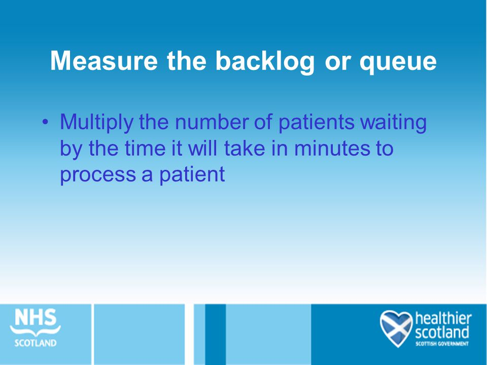 Measure the backlog or queue