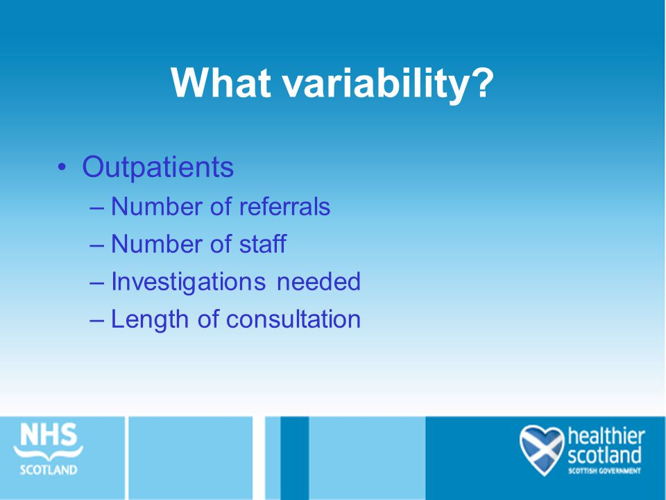 What variability Outpatients Number of referrals Number of staff