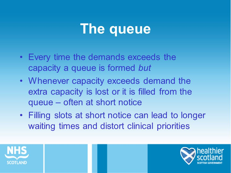 The queue Every time the demands exceeds the capacity a queue is formed but.