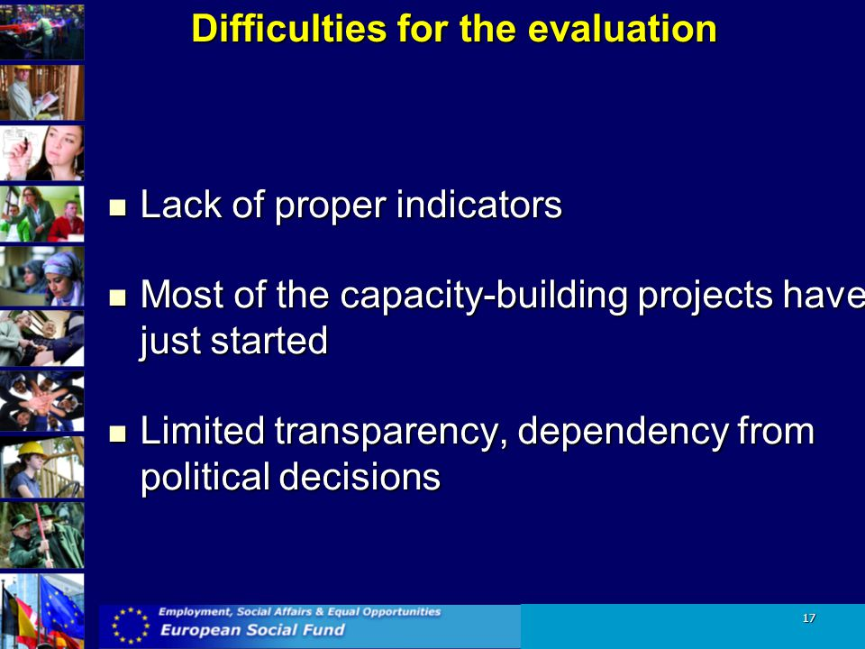 Difficulties for the evaluation