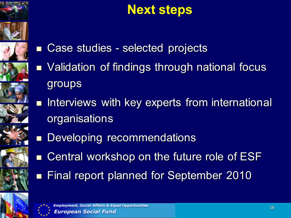 Next steps Case studies - selected projects