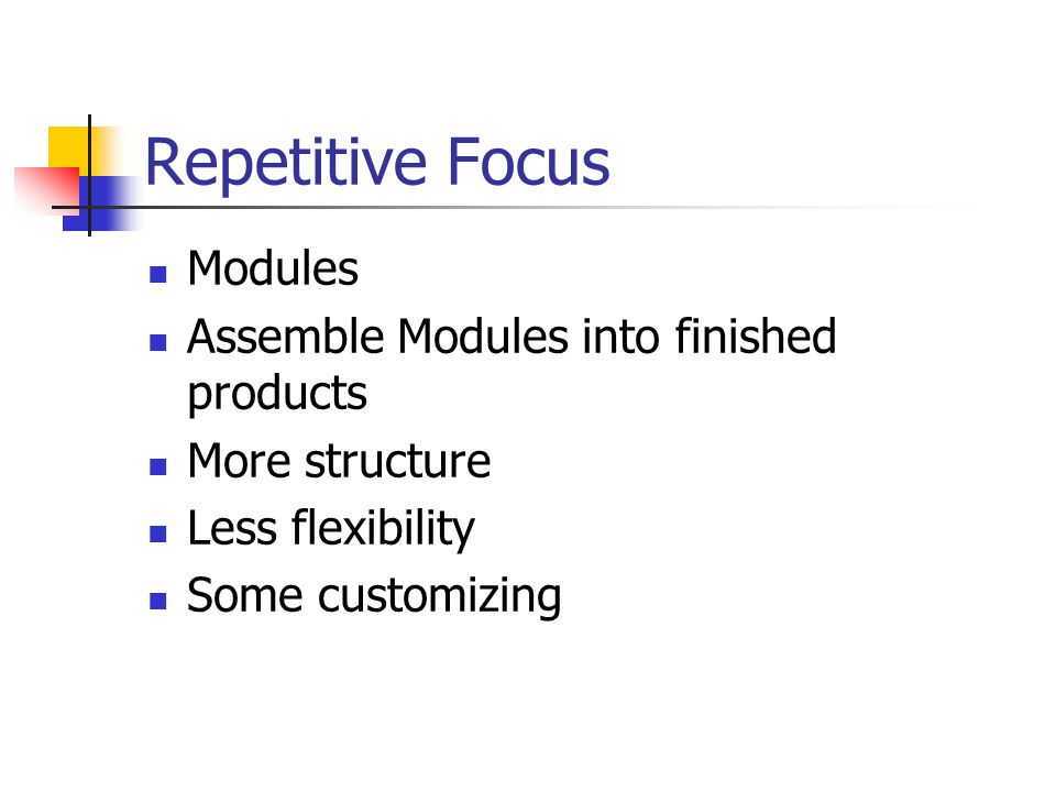 Repetitive Focus Modules Assemble Modules into finished products