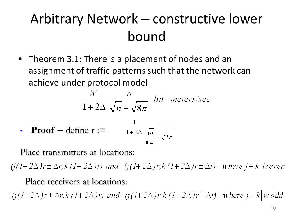 Arbitrary Network – constructive lower bound