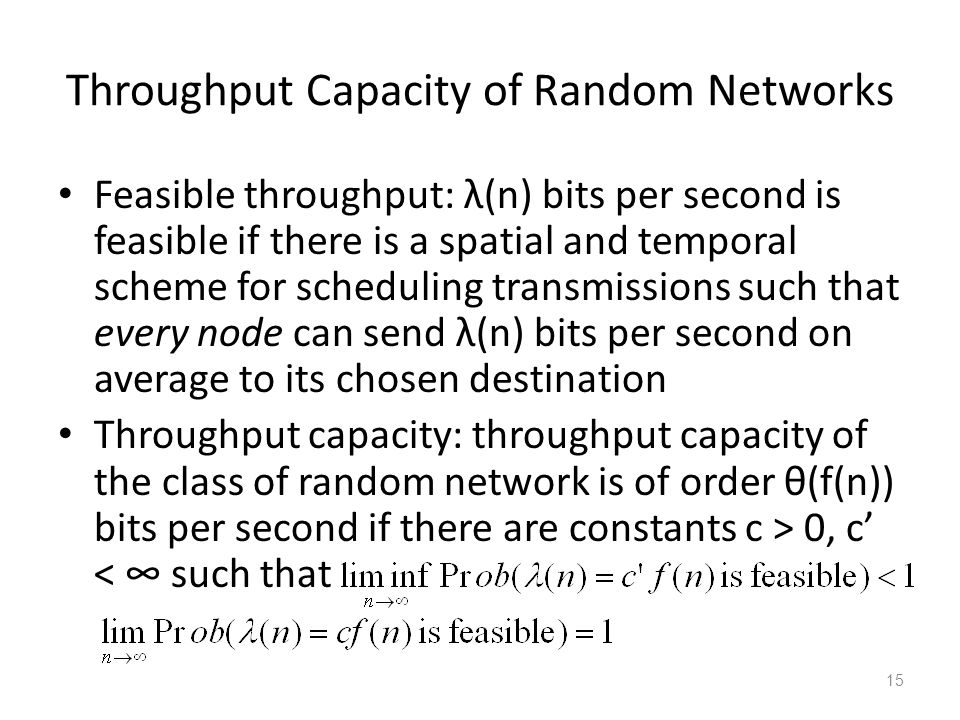 Throughput Capacity of Random Networks