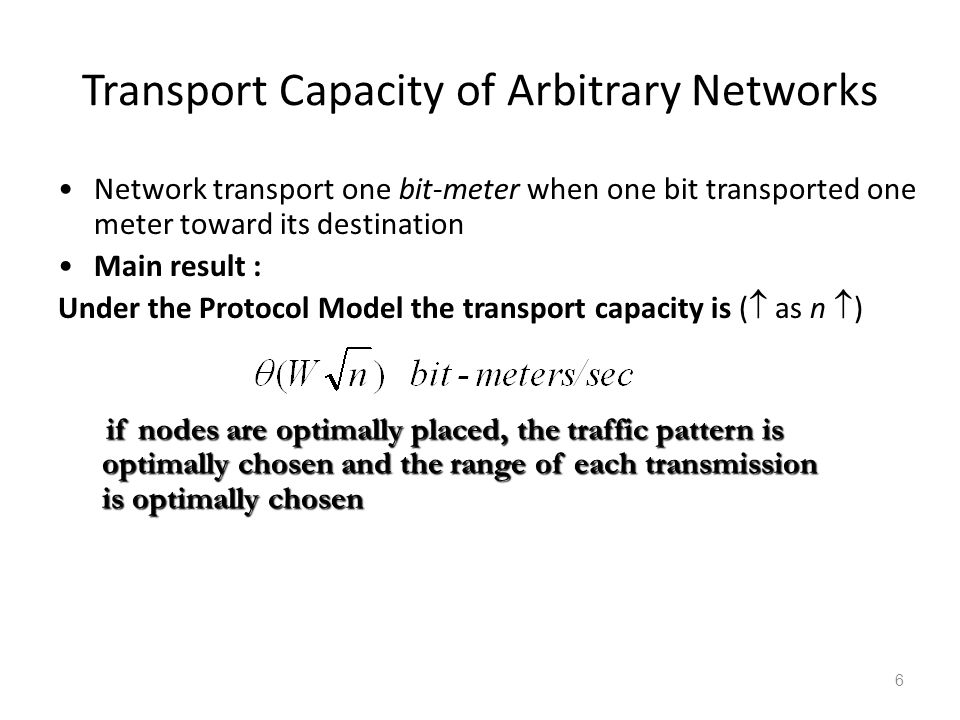 Transport Capacity of Arbitrary Networks