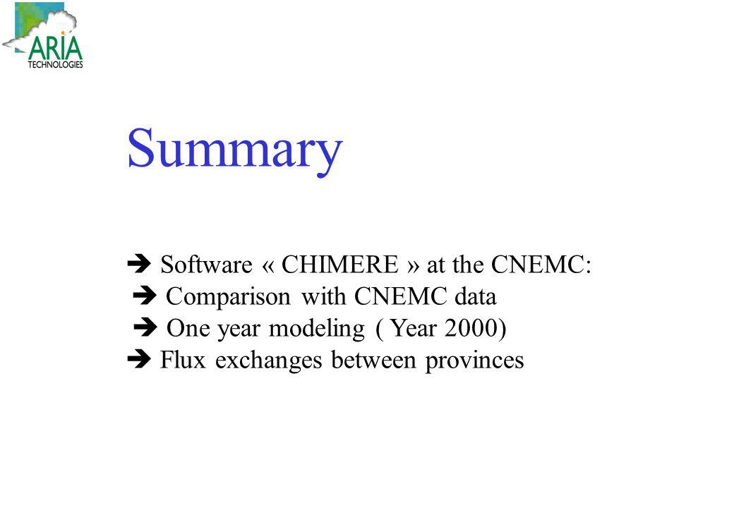 Summary  Software « CHIMERE » at the CNEMC: