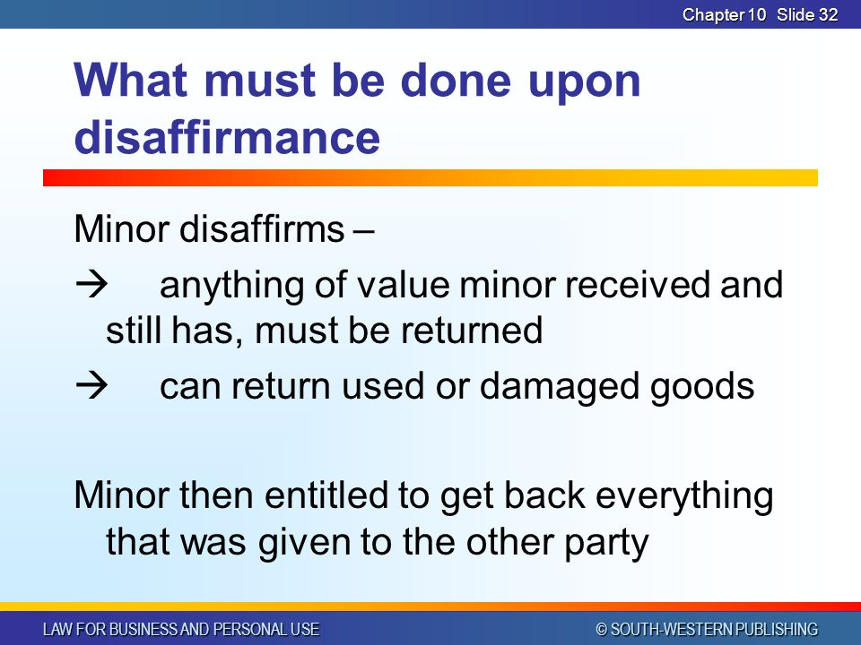 What must be done upon disaffirmance