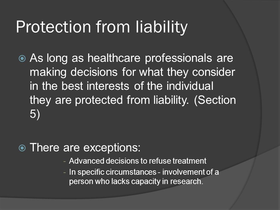 Protection from liability