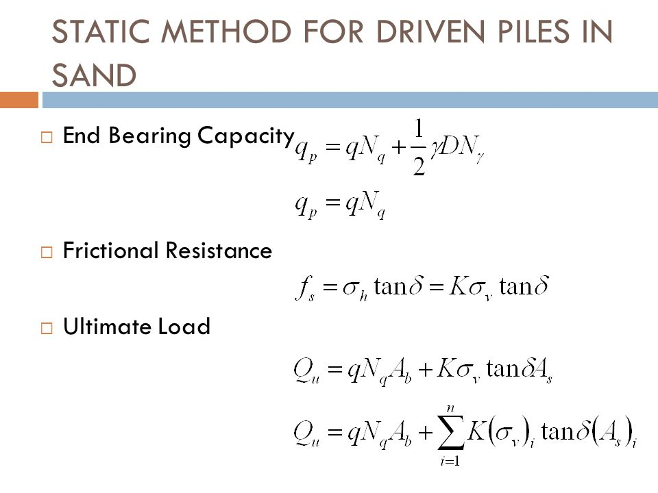 STATIC METHOD FOR DRIVEN PILES IN SAND