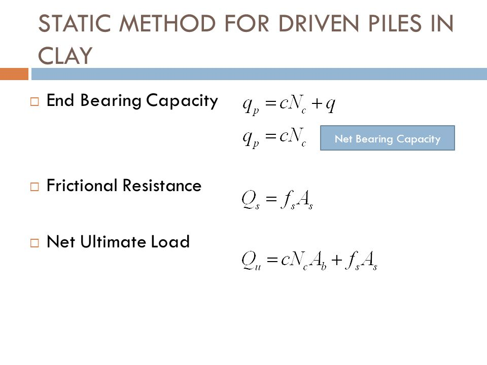 STATIC METHOD FOR DRIVEN PILES IN CLAY
