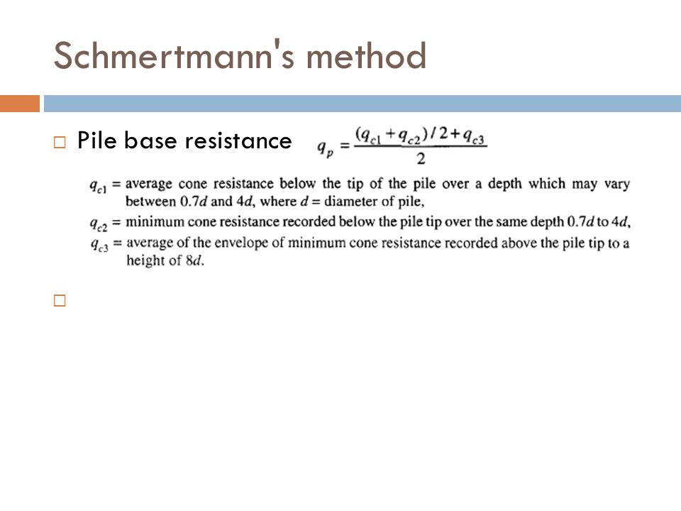 Schmertmann s method Pile base resistance