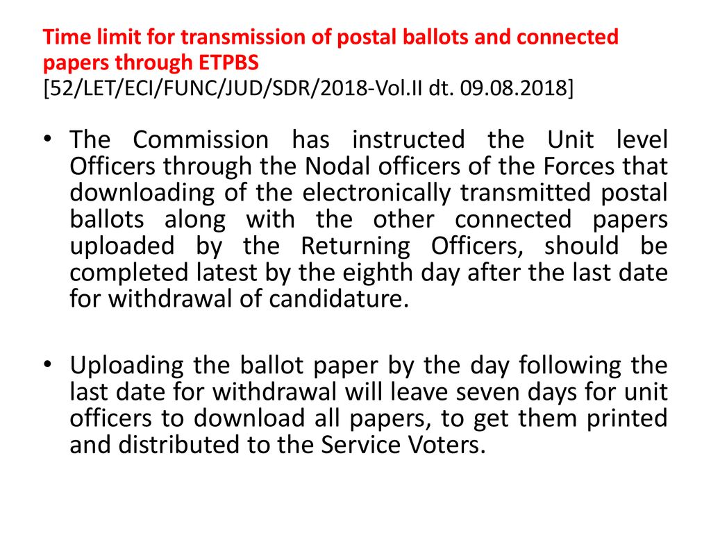 Electronically Transmitted Postal Ballot System (ETPBS) - ppt download