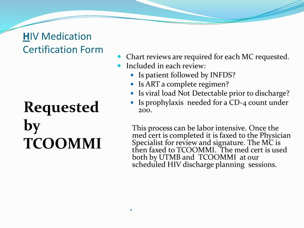UTMB/CMC MEDICALLY FOCUSED HIV DISCHARGE PLANNING - ppt download
