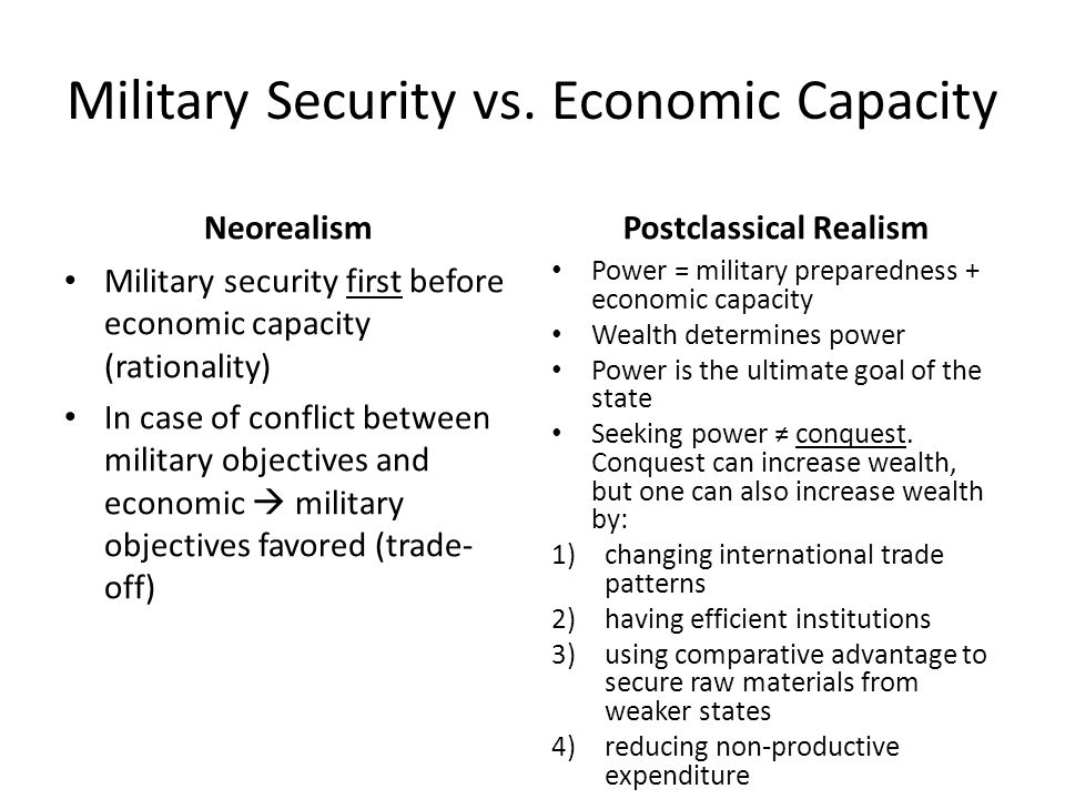 Military Security vs. Economic Capacity