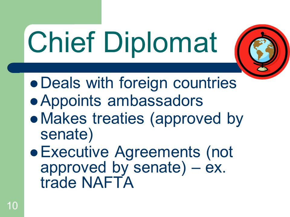 Chief Diplomat Deals with foreign countries Appoints ambassadors
