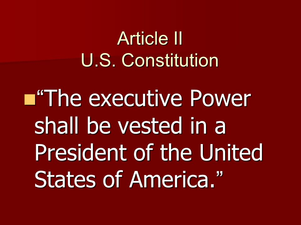 Article II U.S. Constitution