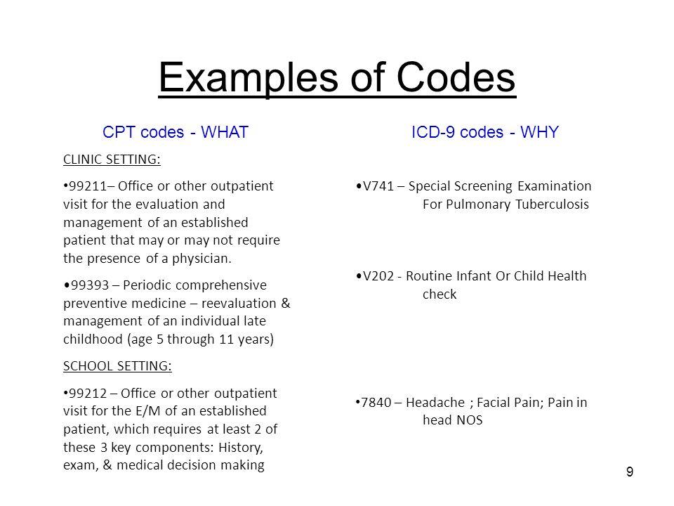 icd 9 code for headache