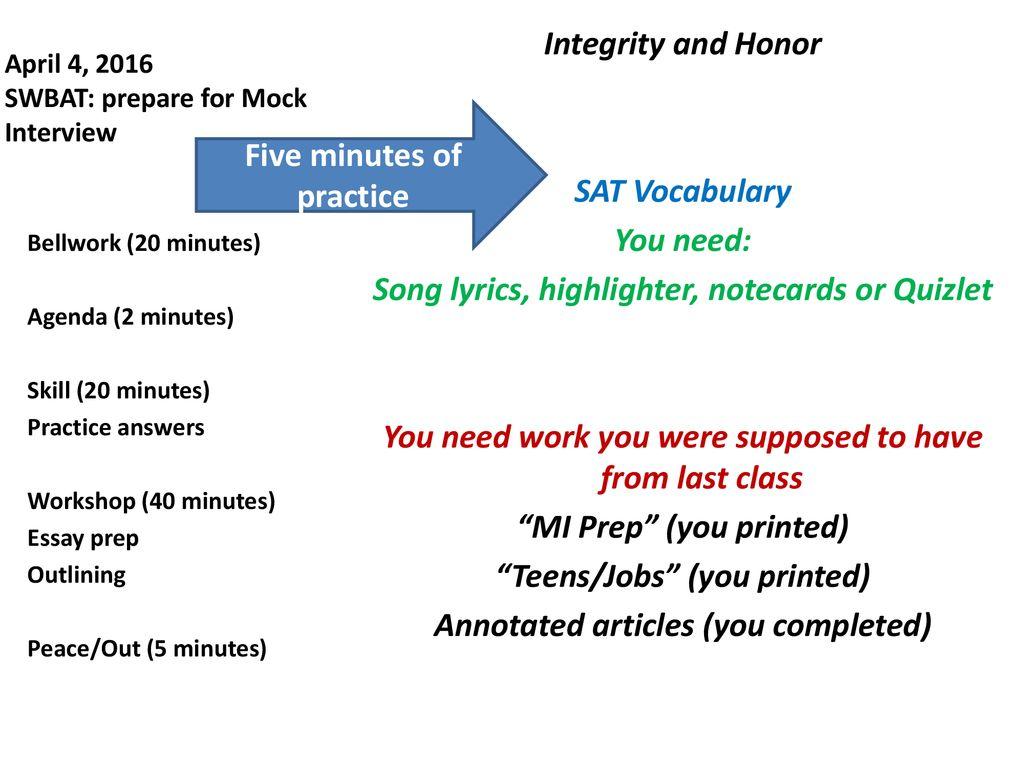 April 4, 2016 SWBAT: prepare for Mock Interview - ppt download