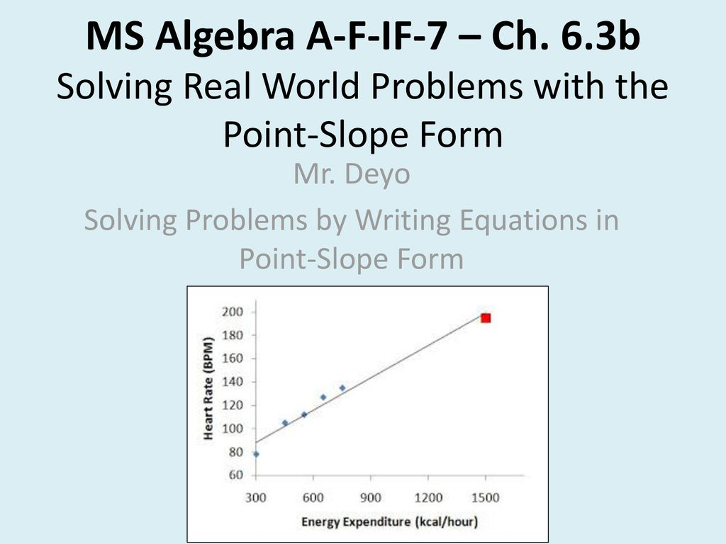 point slope form real world problems  Mr. Deyo Solving Problems by Writing Equations in Point ...