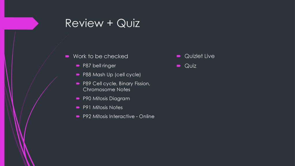 review + quiz work to be checked quizlet live quiz p87 bell ringer