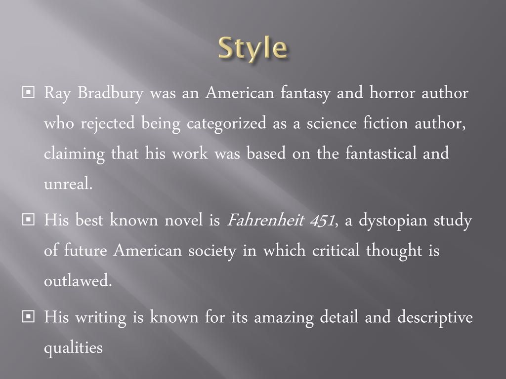 Introduction to Ray Bradbury - ppt download