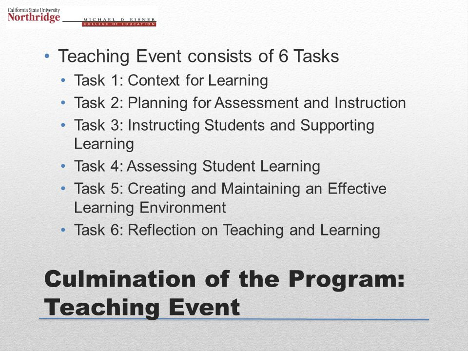 Culmination of the Program: Teaching Event