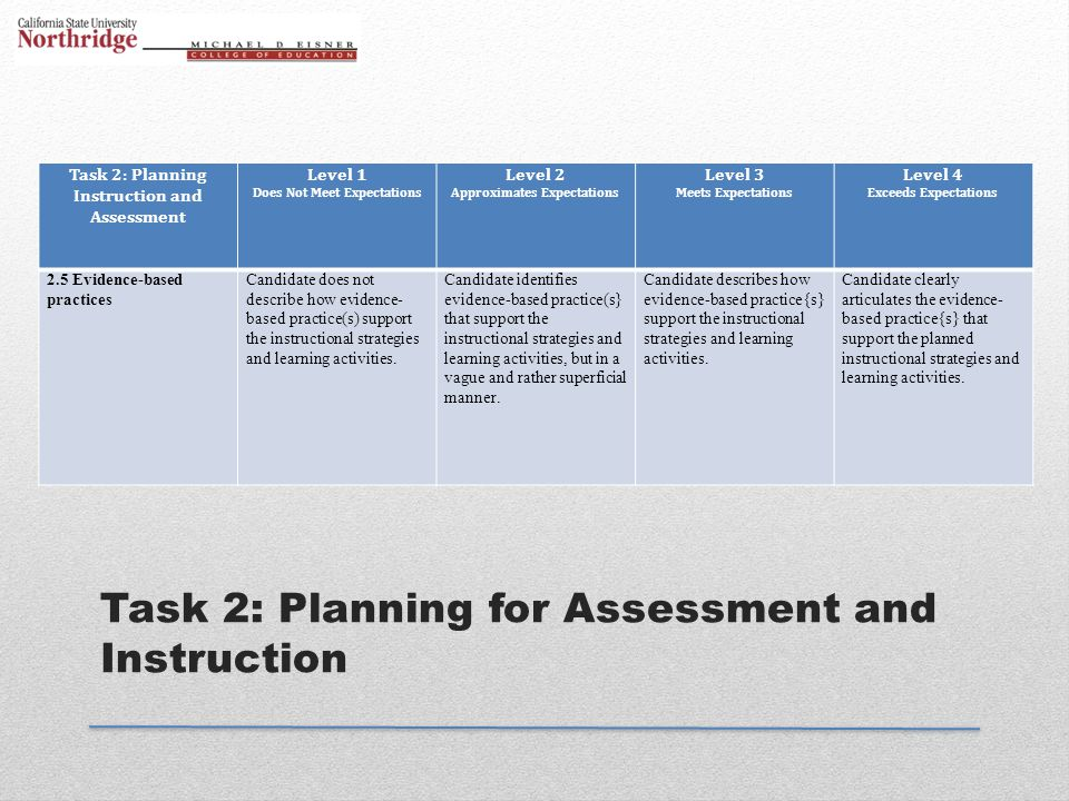 Task 2: Planning for Assessment and Instruction