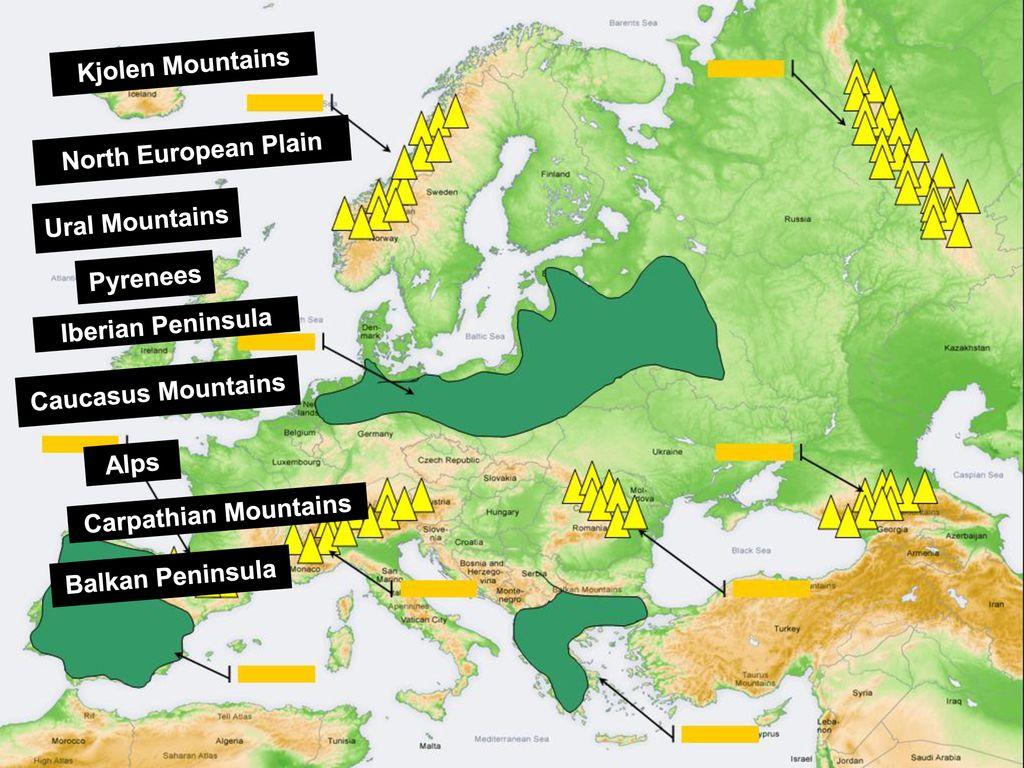 Kjolen Mountains North European Plain Ural Mountains ...