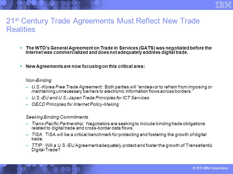 21st Century Trade Agreements Must Reflect New Trade Realities