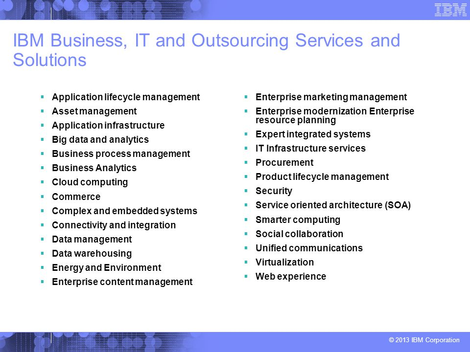 IBM Business, IT and Outsourcing Services and Solutions