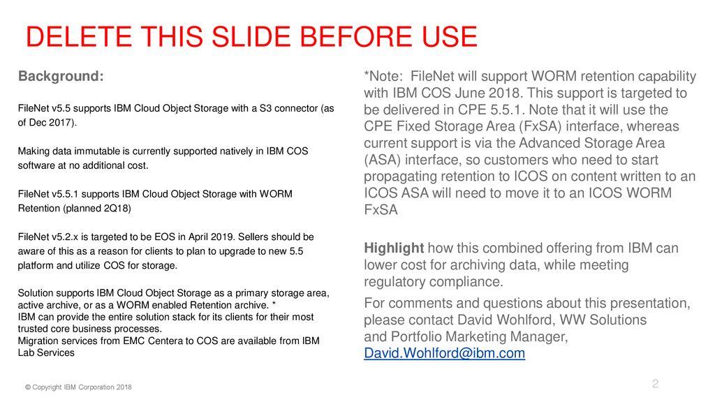 IBM Cloud Object Storage with IBM FileNet P8 IBM FileNet