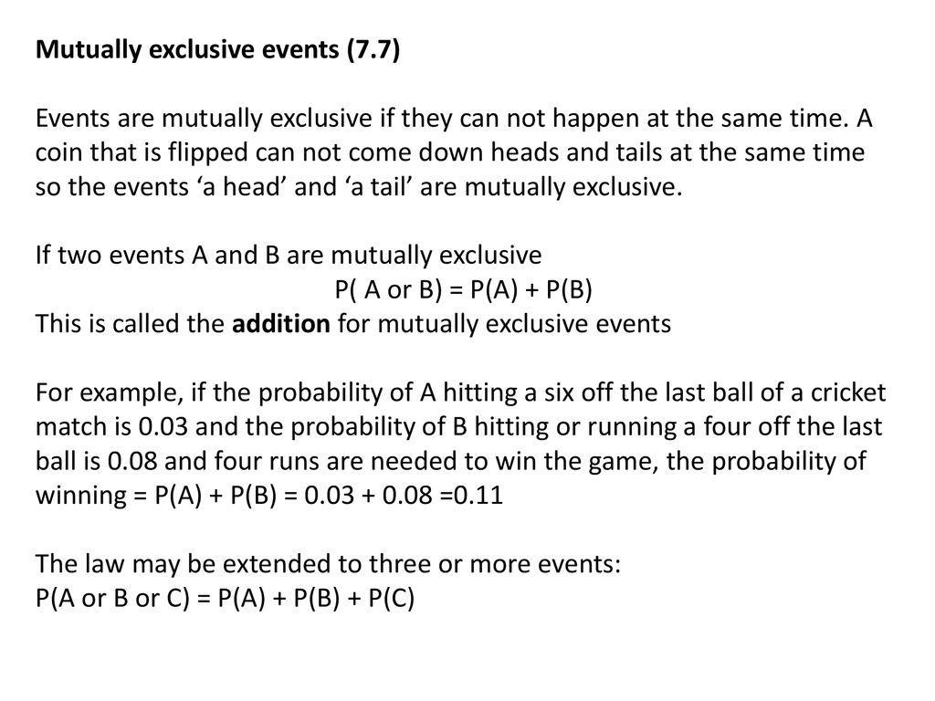 Probability Mutually exclusive and exhaustive events - ppt download