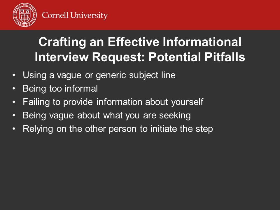 crafting an effective informational interview request potential pitfalls