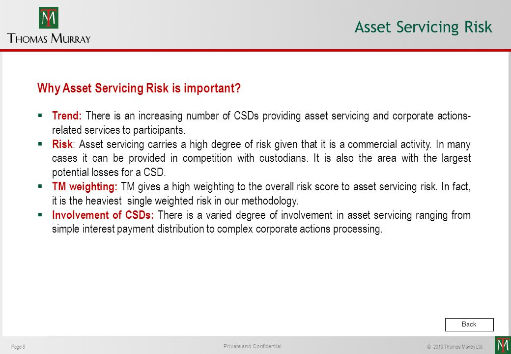 Asset Servicing Risk Why Asset Servicing Risk is important
