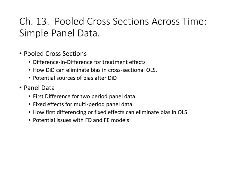 Ch  13  Pooled Cross Sections Across Time: Simple Panel Data