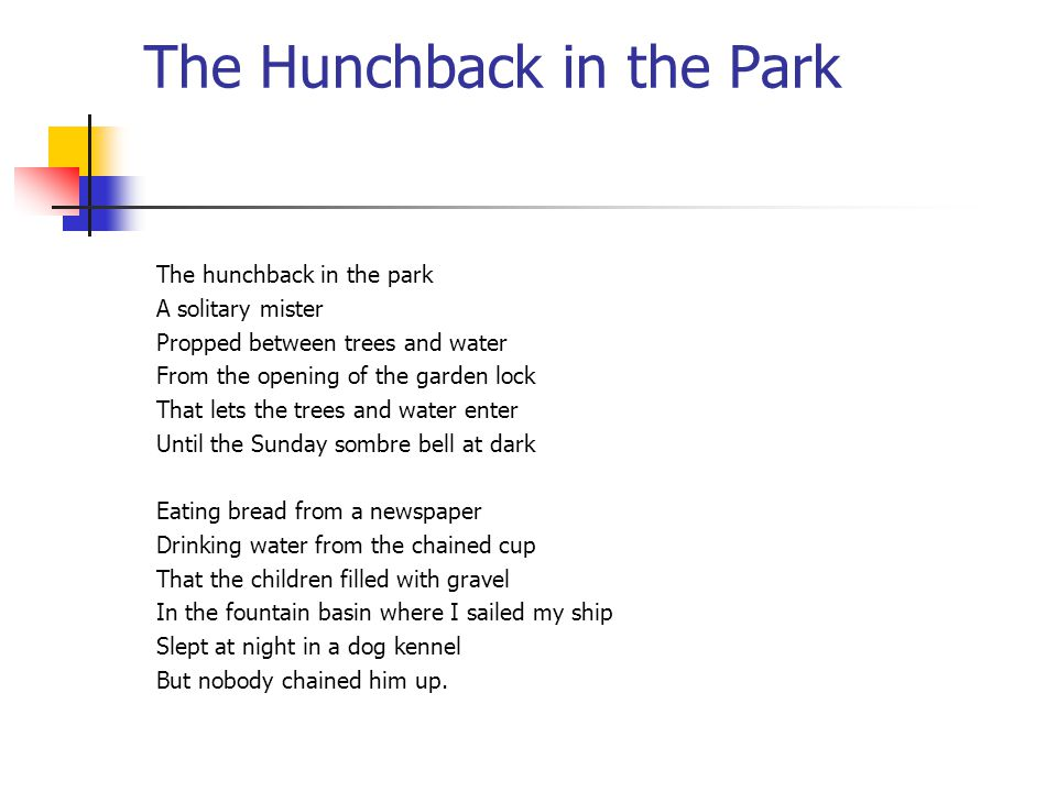 the hunchback in the park analysis