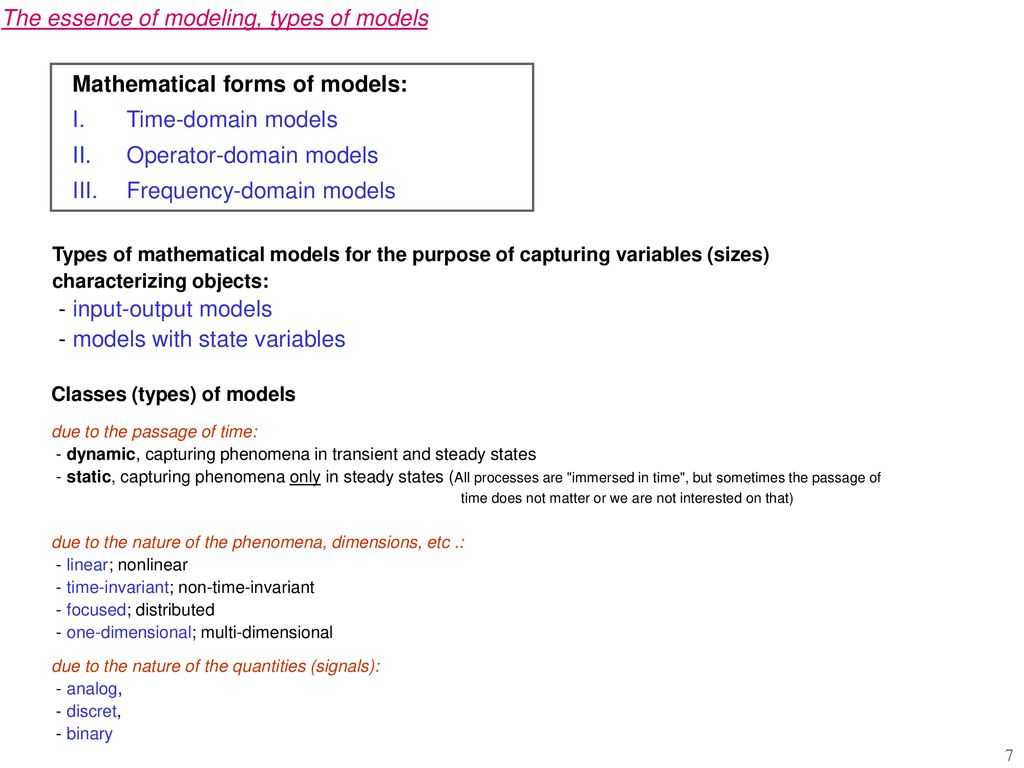 Automatic control Mathematical models of objects in